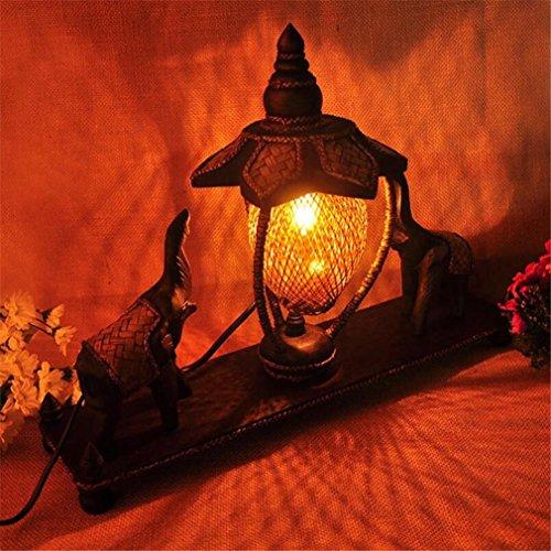 Lotus Natural (ELEGENCE-Z Tischlampe Thai Bambus Weben Southeast Asian Style Schlafzimmer Kreative Massivholz Elefant Nachttisch Retro Dekoration Nachahmung Old Lotus Natural)