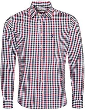 Almsach Trachtenhemd Egon Slim Fit Mehrfarbig in Rot, Dunkelgrün und Dunkelblau Inklusive Volksfestfinder