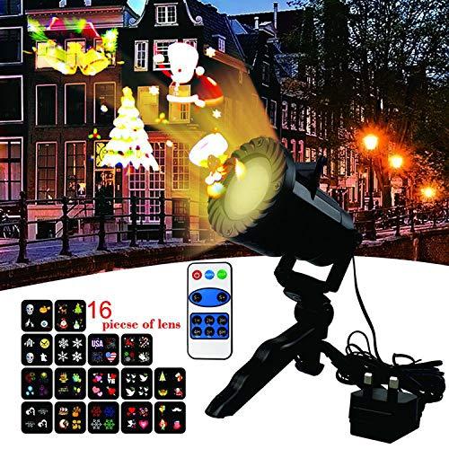 (AIBAB Projektionslampe, Led16 Dia-Muster-Projektor, mit Fernbedienung leuchtet, Außenraumbeleuchtung Dekoration, Schneeflocke, Geburtstagsfeier, Hochzeit)