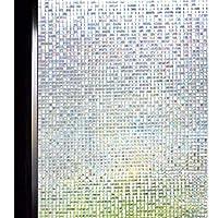DUOFIRE 3D Window Film Small Mosaic Privacy Window Film Decorative Film Static Cling Glass Film No Glue Anti-UV Window Sticker Non Adhesive for Home Kitchen Office 23.6in. x 78.7in. DL004
