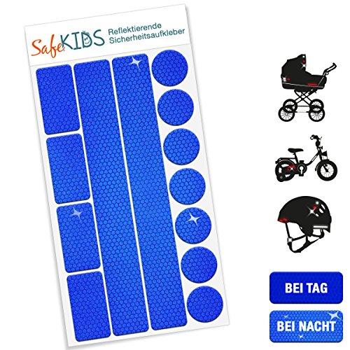 Motoking SafeKIDS Leuchtaufkleber, BLAU, 13 Stück für Kinderwagen Fahrrad Helm und mehr