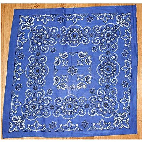 Royal Blue round western BLACK and White Texas paisley bandana scarf Large