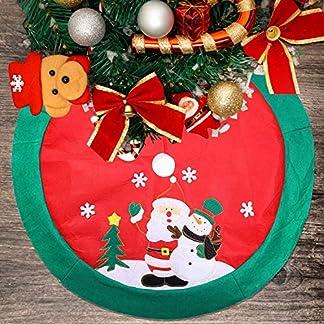 Mbuynow Zogin 100cm 39.5″ Falda de decoración para árbol de Navidad – decoración de Papá Noel & muñeco de Nieve (Rojo y Verde) (100cm-A)