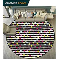 Colorful Round Area Rugs Super Soft Living Room,Hand Drawn Grunge Inspired Composition Of Circles And Dots On Stripped Backdrop Bedroom Home Shaggy Carpet,Multicolor