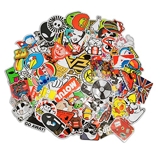 100 Aufkleber / Sticker - Retro-, Graffiti- Style, Reisen, Marken für Skateboard, Snowboard, Koffer, Notebook, Auto, Fahrrad & uvm. - Auto-Dress® (Set-3)