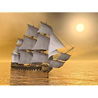 Pitaara Box Old Merchant Ship Floating On Quiet Water Sunset Canvas Painting MDF Frame 16 X 12Inch
