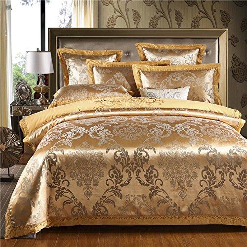 CSSJTZY Bett Vier Sätze Baumwolle Satin Jacquard Bettbezug Kissenbezug Blätter 1,5 1,8 2,0 Mt Doppel, Jane Noch Europäischen Stil (Gold), 220 * 240 (Gold-bett-satz)
