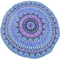 Floral Chiffon Round Throw Tapestry Shawl Tablecloth Yoga Mat Beach Towel - Pink