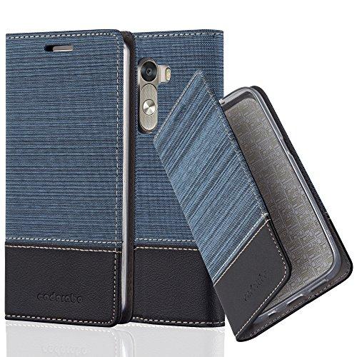 Cadorabo Hülle für LG G3 - Hülle in DUNKEL BLAU SCHWARZ – Handyhülle mit Standfunktion und Kartenfach im Stoff Design - Case Cover Schutzhülle Etui Tasche Book