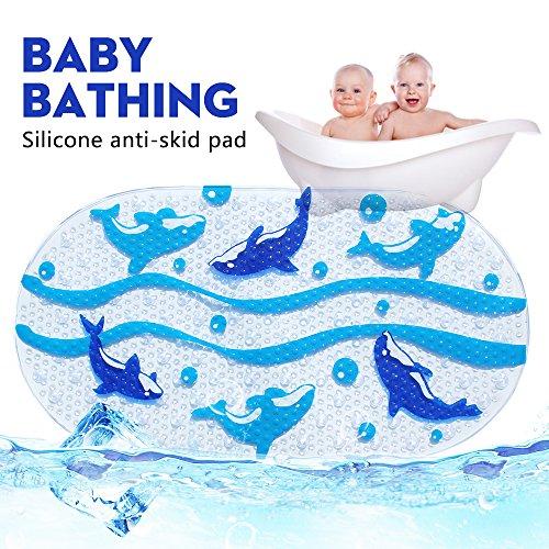 Rutschfest Baby Bad-Teppiche und Dusche Matte für Babys Kinder, passt jeder Größe Badewanne - Delfin (Bad-matten Kinder)