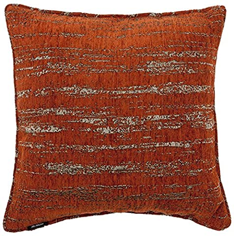 McAlister Textiles Textured Chenille | Funky Metallic Moroccan Bohemian Square Scatter Terracotta Burnt Orange Cushion Covers | 43cm 16x 16 Inch