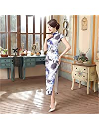 0e27bf0bcf11 Profitd Donna Vestiti Green Summer Lady Vintage Long Dress Donna in Stile  Cinese in Raso Qipao Cheongsam…