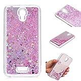 BONROY handyhuelle Alcatel Pixi 4 (5 Zoll) huelle,Cover Alcatel Pixi 4 (5 Zoll) Glitzer Hülle, Glitter Transparent Silikon TPU Bumper Schutzhülle Case-Rosa