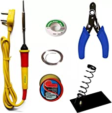 HRDEALS Iron kit stand flux wire stripper wik electric (25w simple flat tip) (G-HR(6IN1), Black)