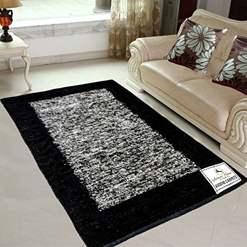 445a49b879 Avioni Rugs Black and Silver Carpets For Living Room Actual Feather Touch-  Softness Guaranteed-Handloom.