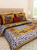 #8: Jaipuri Style 100% Cotton Rajasthani Tradition King Size Double Bedsheet with 2 Pillow Cover.