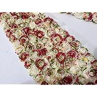 Rosa Fiore Pizzo tessuto Trim–sposa fiori rete Tulle–6file 12cm larghezza–Floreale