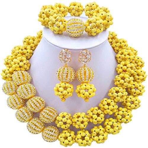 Laanc 2rows Rouge Collier de perles Turquoise et strass Doré du Nigeria africain Bijoux Femme Définit Blazing Yellow and Rhinestone Gold