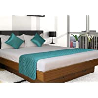 Vissage Quilted Double Bed Runner with 2 Cushion Covers : Sea Green