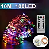 LED String Lights 10M 100 LED Dimmable Starry Rope Lights with Remote Control Waterproof, Copper Wire Fairy Lights for Bedroom, Patio, Garden, Yard, Wedding, Parties, Christmas, Halloween (Multicolor)