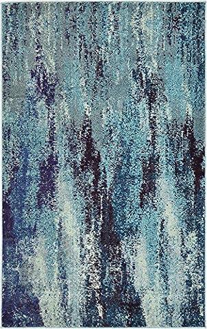 Modern Abstract 3-Feet by 5-Feet (3' x 5') Barcelona Blue Contemporary Area Rug