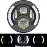 SKUNTUGUANG 7 Inch LEd Headlight with DRL Turn Signal Lights for Motorcycle Harley Davidsion(Signal Headlight)