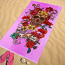 Regalitostv Day of The Dead* Toalla Playa Grande 95 X 175 CM Tacto Terciopelo 100% Algodón (360g) (Skull Rosa 238B)