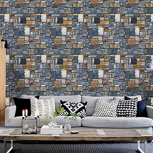 wandaufkleber wandtattoos Ronamick 3D-Tapeten Hausdekoration Ziegel Stein rustikale Wirkung selbstklebende Wand Aufkleber Home Decor Wandtattoo Wandaufkleber Sticker Wanddeko (Multicolor) Ziegel-wand-aufkleber
