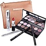 DE'LANCI perfekte Makeup-Satz-Kosmetik Kit- Lidschatten-Palette, Mascara, Liquid Eyeliner Bleistift, Augenbrauenstift , Lippenstift & Lippenpinsel - Leder Cosmetic Bag - Geschenk Set