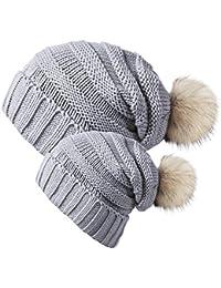 Gorras para bebé, Stillshine 2pc Sombrero de gorrita tejida de ganchillo caliente de mamá y bebé de invierno