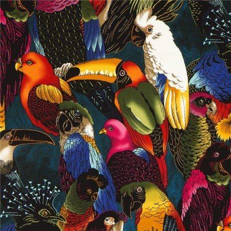 Blue-black parrot fabric by Alexander Henry (per 0.5m unit)