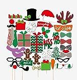 Veewon Feliz Navidad Photo Booth Puntales 39 piezas Kit de bricolaje para Navidad Vestir Partido Disfraces Accesorios con bigote, sombreros, gafas, labios, jugador de bolos, pajaritas en los palillos
