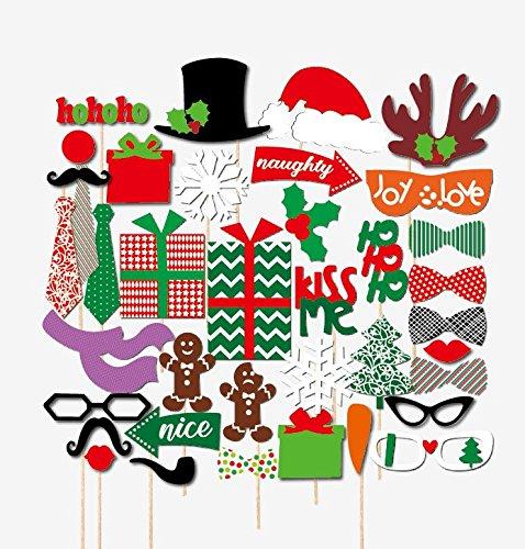 Weihnachten Dress Up (Veewon Frohe Weihnachten Foto Ständer Stützen 39 Stück DIY Kit für Weihnachten Party Dress-up Zubehör Kostüme mit Schnurrbart, Hüte, Gläser, Lippen, Bowler, Fliegen auf)