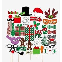 Veewon Buon Natale Photo Booth puntelli 39 pezzo kit fai da te per Natale partito Dress-up Accessori costumi con i baffi, cappelli, occhiali, labbra, Bowler, papillon su