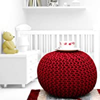 AIESY® - Make Your Home Bright   100% Cotton Hand Knitted Pouf Ottoman, Foot Stool for Home Decor of Bedroom, Hall…