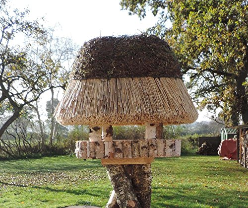 Vogelhaus Pellworm, Höhe: 48 cm, original Reetdach (60x40cm), Bodenplatte (45x25cm) aus Fichtenholz