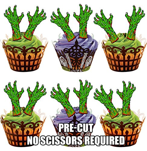 Vorgeschnittene Halloween Grüne Zombie Hände - Essbare Cupcake Topper / Kuchendekorationen (12 Stück)