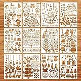 Schablonen Weihnachten, 12 Stück Zeichenschablonen Malschablonen aus Kunststoff, Stencil Schablonen Wiederverwendbar für Scrapbooking Fotoalbum, DIY Geschenkkarten, Geschenke Weihnachten Kinder