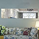Skyblue-uk 7pcs Autocollant Mural Mirroir Amovible Argent DIY Decoration Maison Sticker Miroir