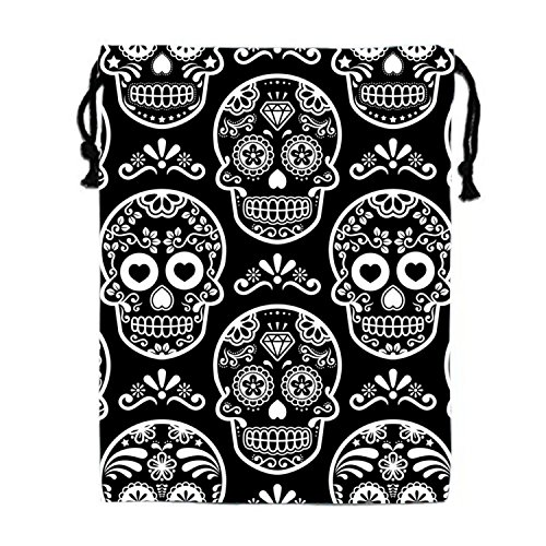 Black Bones Kordelzugbeutel für Damen und Herren, Polyester, Skull Pattern10, Einheitsgröße