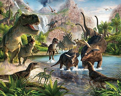fototapete dino Walltastic WT4012 Land der Dinosaurier, Tapete, Wandbild, bunt, 52.5 x 7 x 18.5 cm