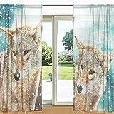 mydaily Winter Wild Wolf bedruckt Sheer Fenster und Tür Vorhang 2Felder 139,7x 213,4cm Rod Pocket Panels für Wohnzimmer Schlafzimmer Decor, Polyester, multi, 55