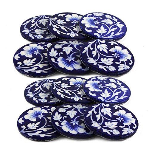Bleu Art poterie faite à la main faite en céramique à thé ou café Verre de Lot de 12 pièces
