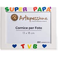 """Cornici per Foto in Legno 13x18 con la Scritta""""Super Papà TVB"""" e Decorata con Cuoricini, da Appoggiare o Appendere…"""