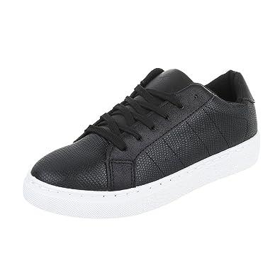 8c525db448a42a Low-Top Sneaker Damen-Schuhe Low-Top Sneakers Schnürsenkel Ital-Design  Freizeitschuhe