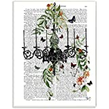 Stupell Home Décor Classic Novel Chandelier With Vines And Butterflies Wall Plaque Art, 10 X 0.5 X 15, Proudly Made In USA
