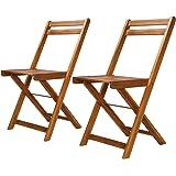 vidaXL 2X Chaise de Bistro Bois Massif d'Acacia Pliable Chaise de Jardin