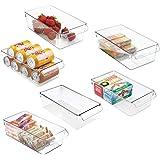 mDesign boîte de rangement à poignée en plastique (lot de 6) – grand bac en plastique idéal en cuisine, dans un placard ou co