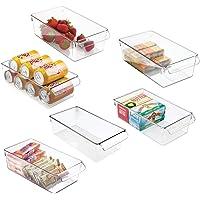 mDesign boîte de rangement à poignée en plastique (lot de 6) – grand bac en plastique idéal en cuisine, dans un placard…