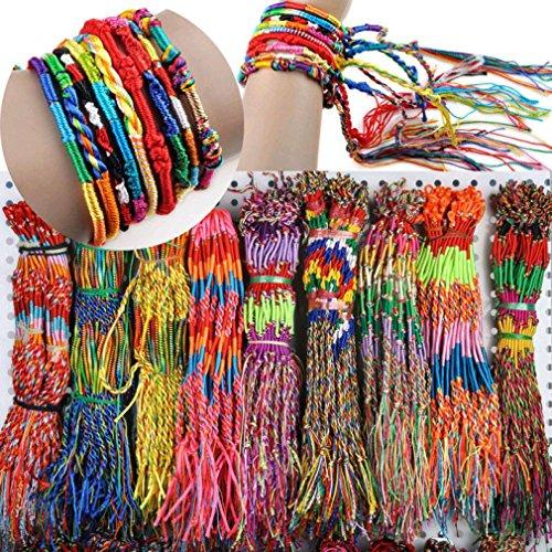 MRULIC Großhandel Schmuck Lot Braid Strands Strandschmuck - lässig - Armband - Armreif - Textilarmband - Freundschaftsarmband - Bracelet - Sommertrend - Herren Armband - Damen (40pc, Bunt) (Strass Zubehör Großhandel)